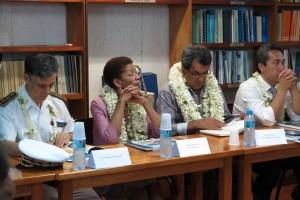 Haut-Commissaire Lionel Beffre, Mme la Ministre George Pau-Langevin, Monsieur Président de la Polynésie française Edouard Fritch et Monsieur le président de l'Assemblée
