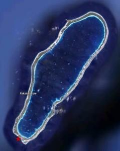 Atoll de Takapoto, l'étoile rouge indique le lieu de suivi